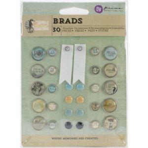 Seashore Brads – 20 Metal, 8 Sugar Dots, 2 Canvas Banners