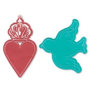 Sizzix Bigz Die W/Bonus Textured Impressions 5.5″X6″ – Heart Crown & Bird Tags
