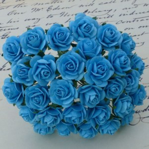 Wild Orchid Crafts Light Turquoise Mulberry Paper Open Roses