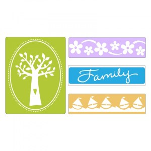 Sizzix Textured Impressions Embossing Folders 4PK – Family Tree Set