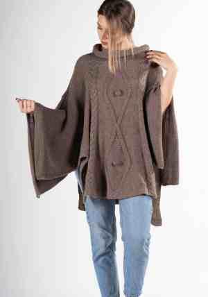 poncho lavorato donna elegante pura lana alpaca