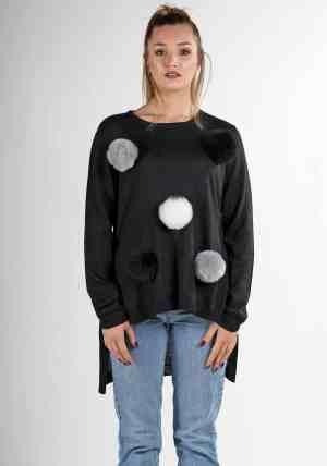 maglioncino nero donna design pura lana alpaca soffice come il cashmere
