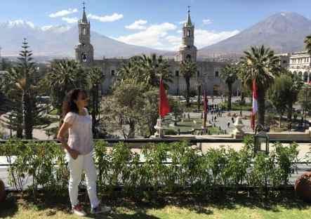 turista che ammira il paesaggio cittadino