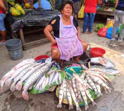 donna che vende pesce al mercato