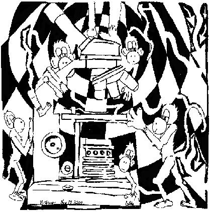 maze of a team of monkeys cartoon using a microscope
