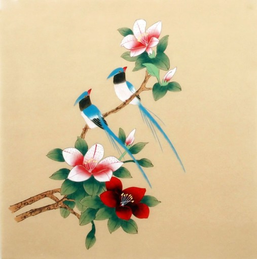 Chinese Other Flowers Painting Flower and brid 2340019  40cm x 40cm     Other Flowers 40cm x 40cm 16       x 16        2340019