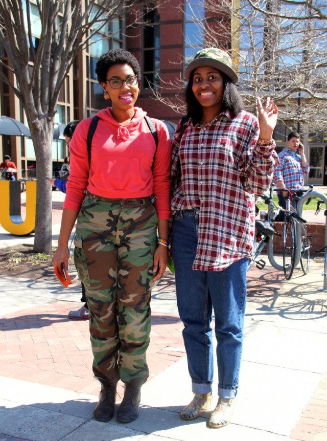 Left: Angela Ward, Social Work major, wearing a hoodie from Forever 21, pants from Rumors Thrift Boutique, and boots from Paradigm. Right: Carmen Jones, Fashion Merchandising major, wearing a thrifted shirt, her sister's hat, her father's pants, and her mother's shoes.