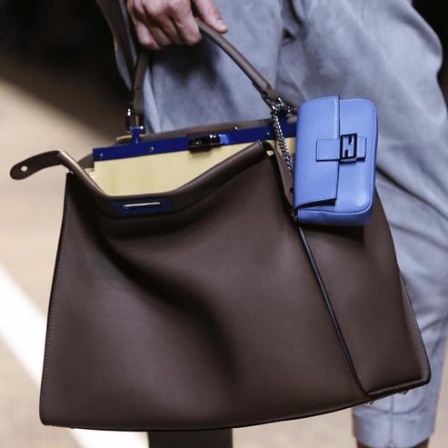 Fendi-Brown-Peekaboo-Bag-with-Light-Blue-Baguette-Micro-Bag-Spring-2015-e1411060204481
