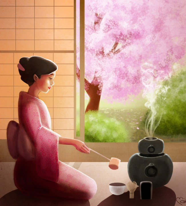 tea ceremony japan sakura cherry blossoms