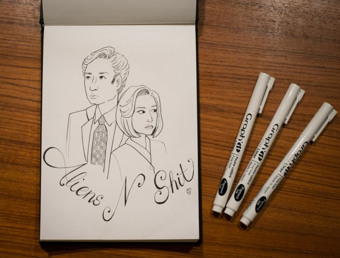 inktober X-files Xfiles mulder scully ink illustration fan art