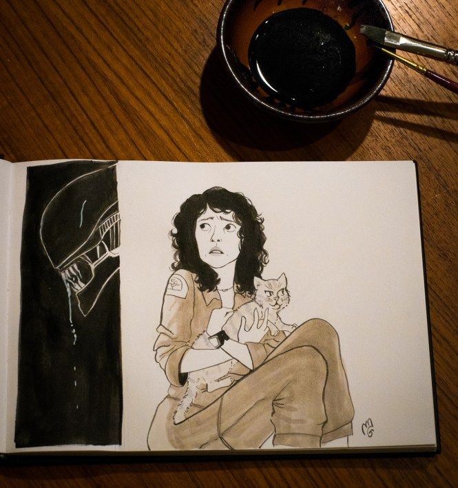 alien fanart inktober ripley cat ink illustration