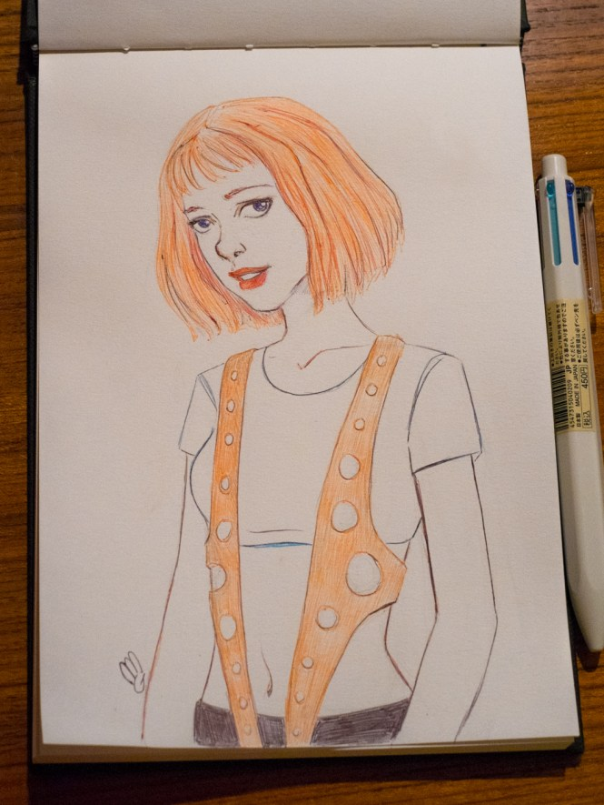 leelo fifth element fan art inktober