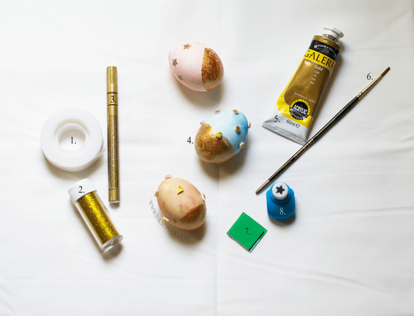 gold and glitter easter egg materials