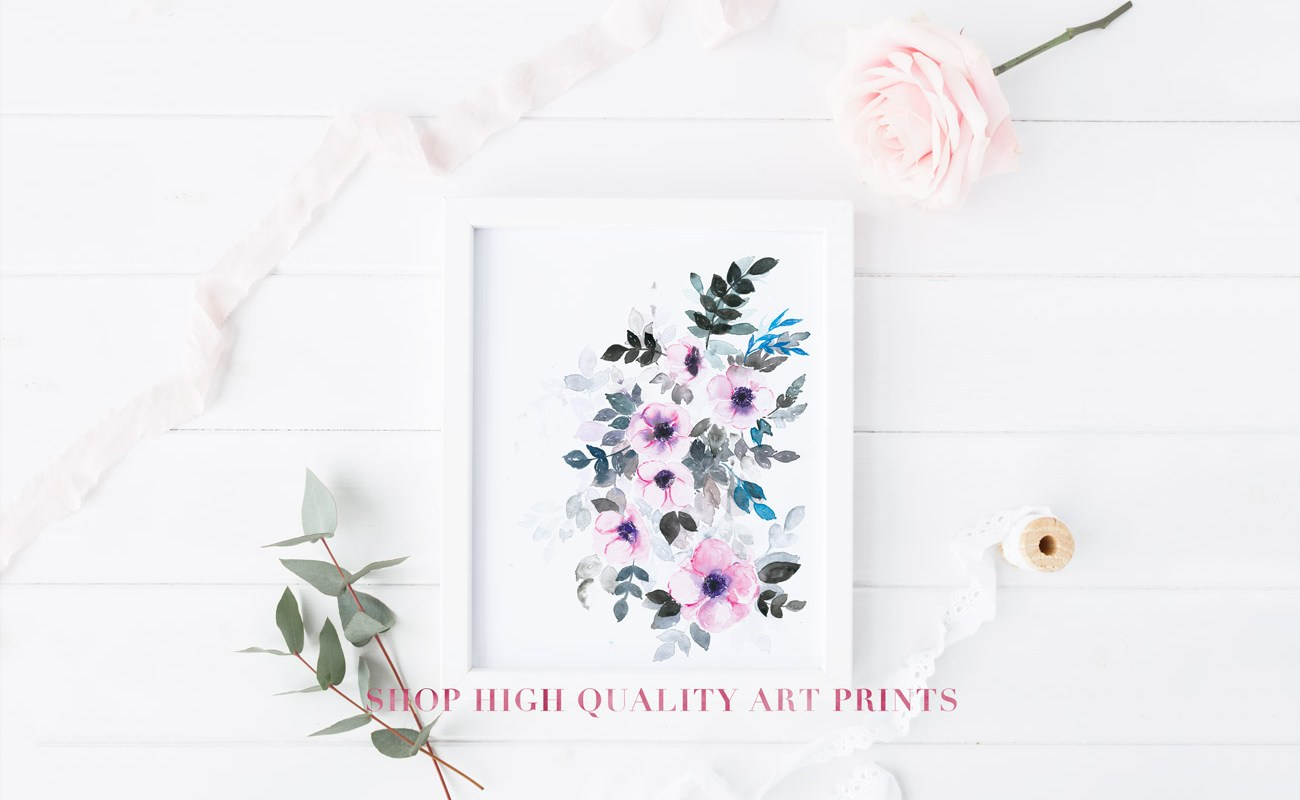 Watercolor floral art prints - www.inkstruck.com
