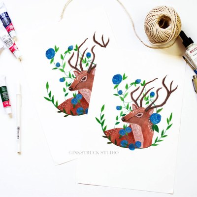woodland deer art