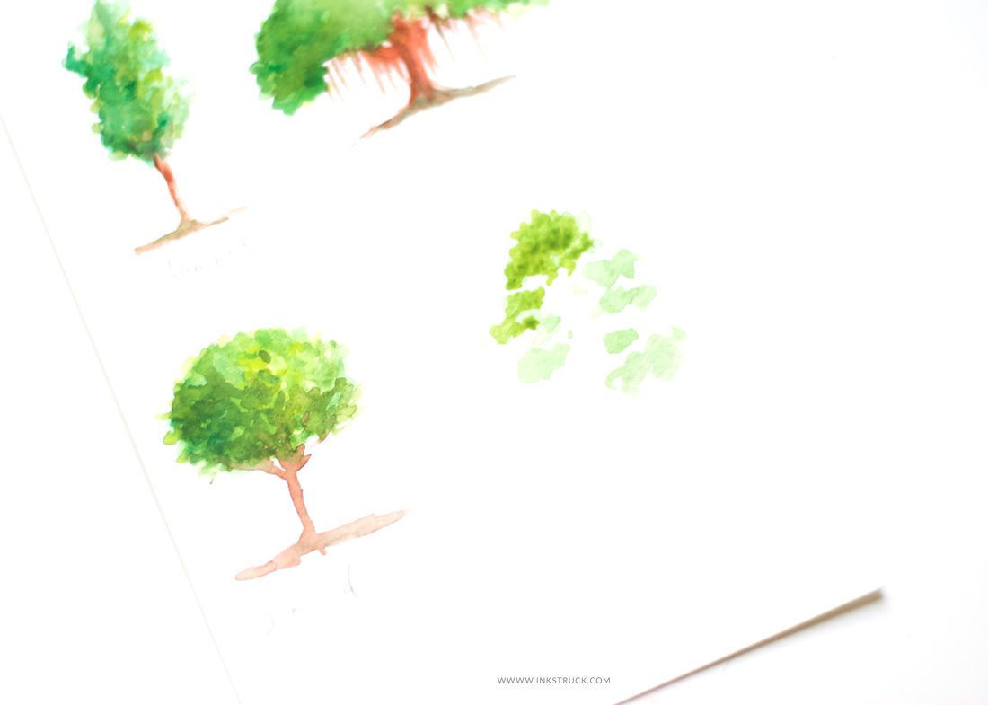 Learn how to paint watercolor trees four different ways in this first installment of a series of tutorials by Zakkiya Hamza of Inkstruck Studio