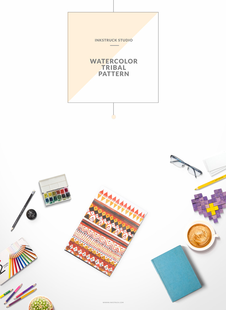 Learn how to create a watercolor tribal pattern by following this step by step tutorial by Zakkiya Hamza of Inkstruck Studio.