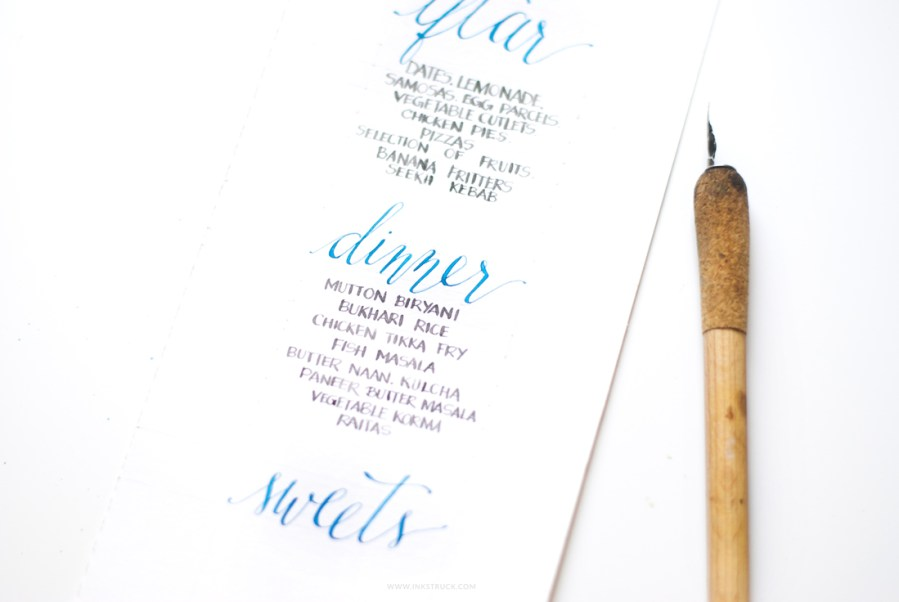 Create a pretty DIY calligraphy menu that can be used for parties or weddings using watercolor.