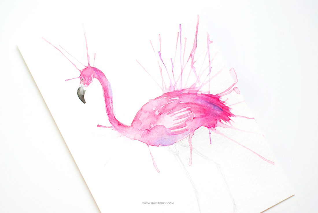 Learn how to do a stylized painting using straws and watercolor in this flamingo inspired tutorial by Zakkiya Hamza of Inkstruck Studio.