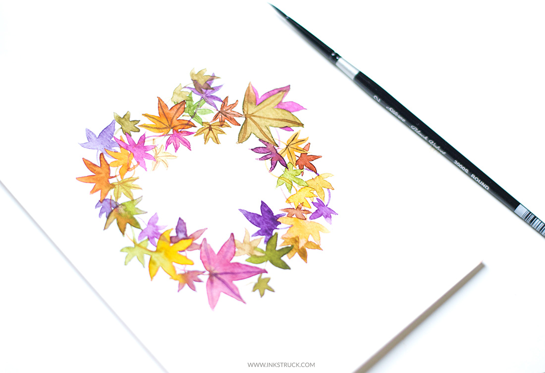 Learn how to paint leaf wreaths in this tutorial by Zakkiya Hamza of Inkstruck Studio.You'll be able to learn a fall inspired leaf wreath as well as a simple green leaf wreath.