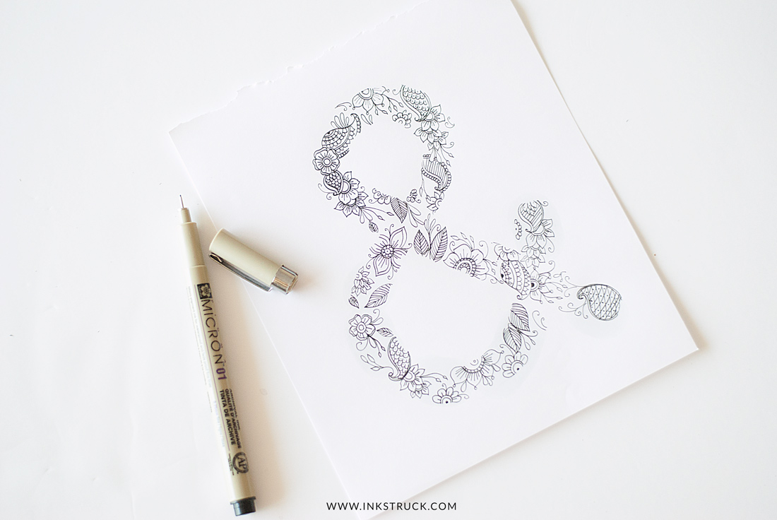 Create your own DIY ampersand art and get a free adult coloring page in this tutorial by Zakkiya hamza of Inkstruck Studio.