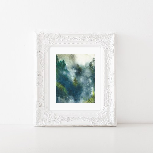 Watercolor foggy landscape illustration is a high quality print of a watercolor illustration by Zakkiya hamza of Inkstruck Studio.