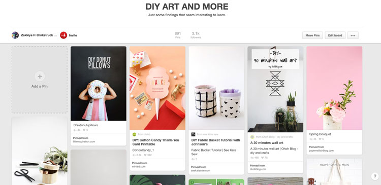 DIY art and more Pinterest board
