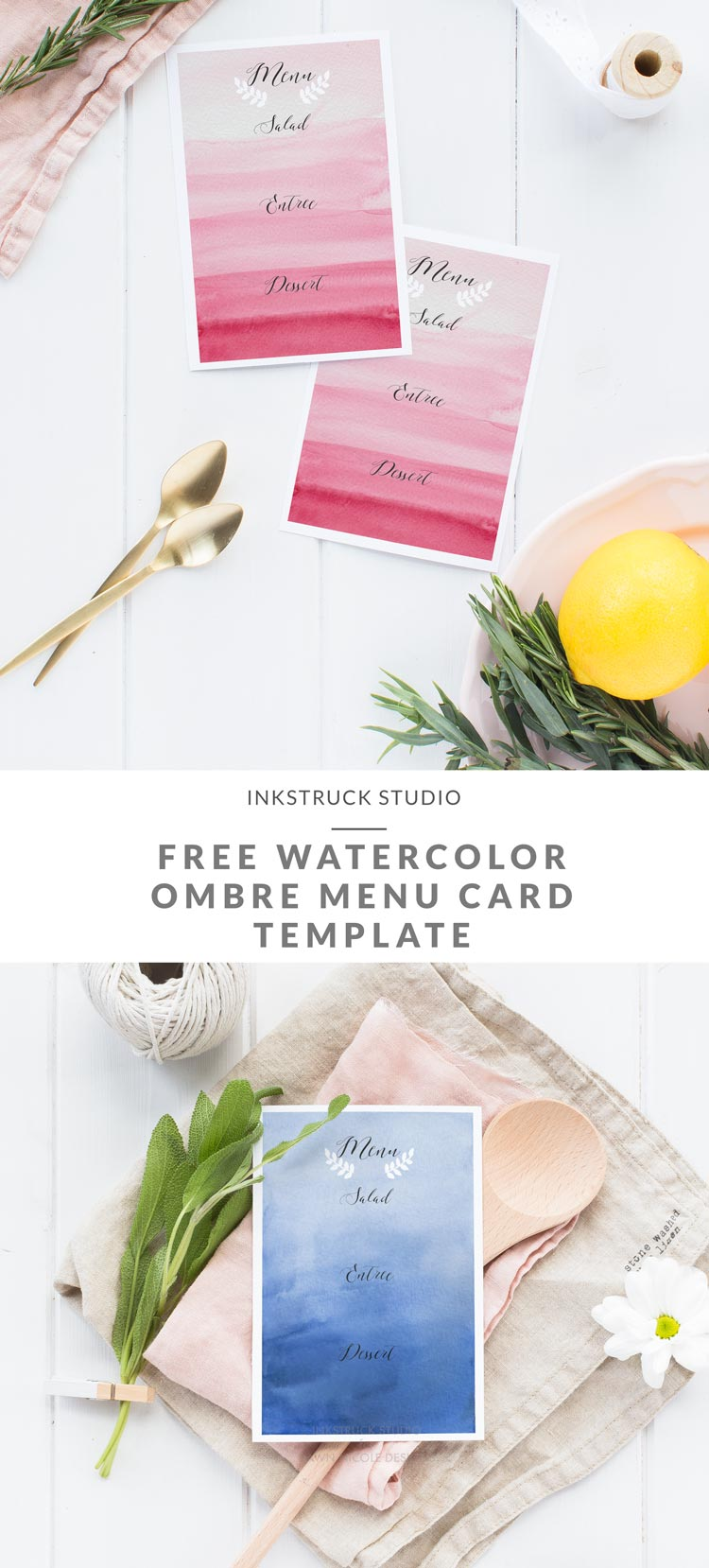 Free watercolor ombre background menu card template- Inkstruck Studio