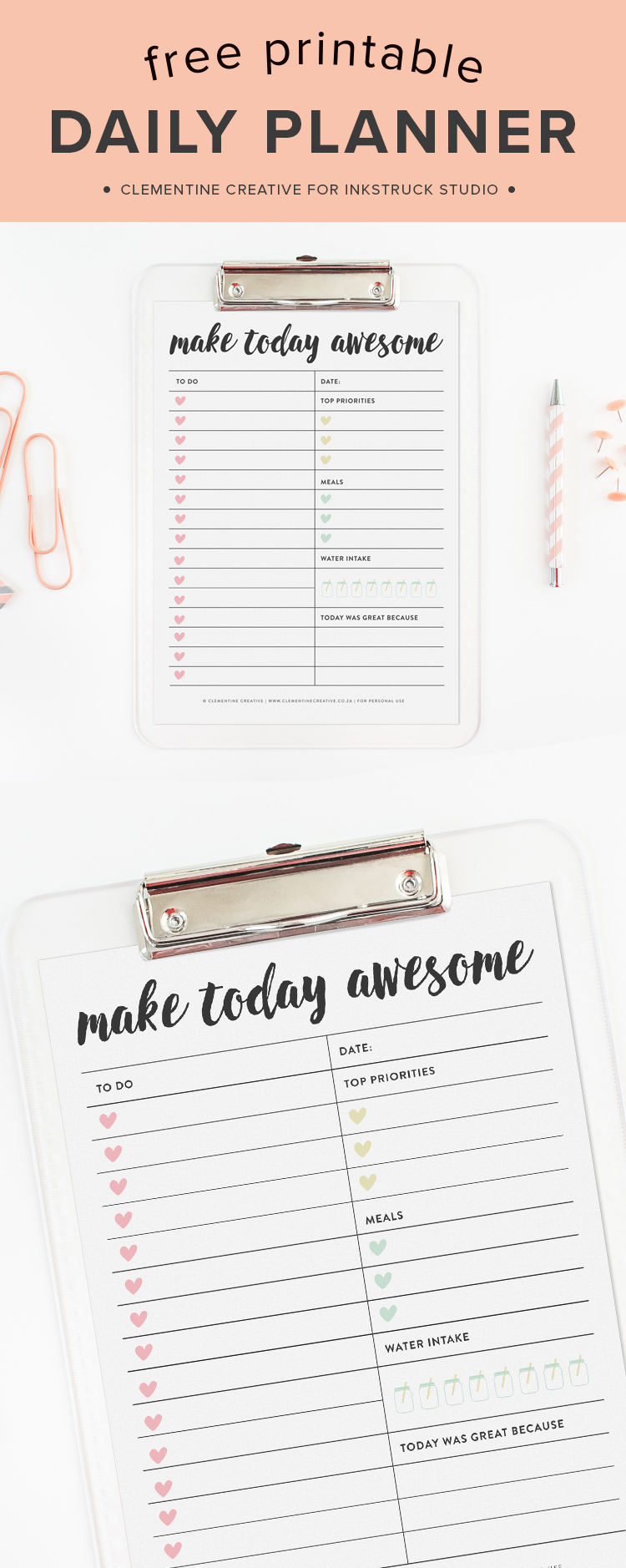 no more stressing  use this free printable daily planner page