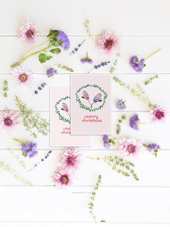 Free watercolor christmas cards. Click to download for free! - Inkstruck Studio