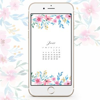 Download June watercolor wallpaper for desktops and phones.They're floral too - Inkstruck Studio
