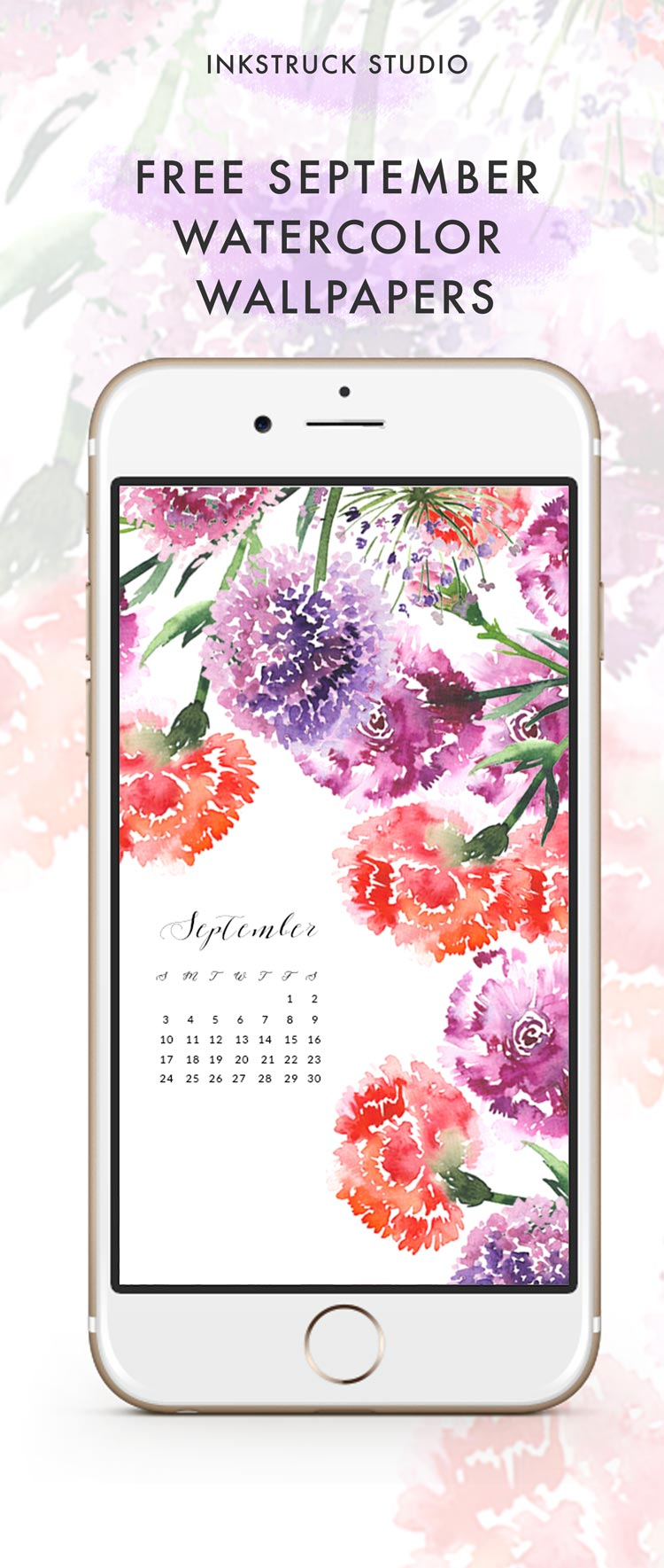 Free September watercolor wallpapers - Inkstruck Studio