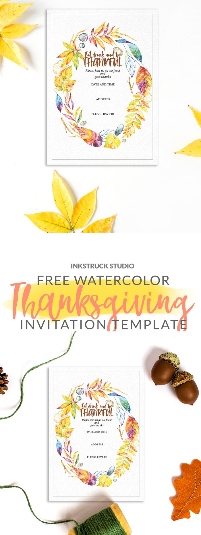 Free watercolor invitation template for thanksgiving inkstruck download these free watercolor invitation templates for thanksgiving to hand out to your loved ones stopboris Gallery