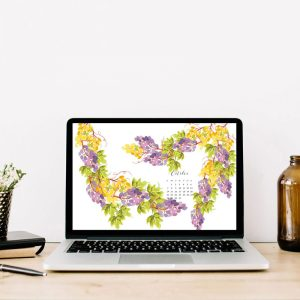 Grab my free 2018 October watercolor wallpapers on the blog now with both dated and undated versions for phones and desktops. - Inkstruck Studio