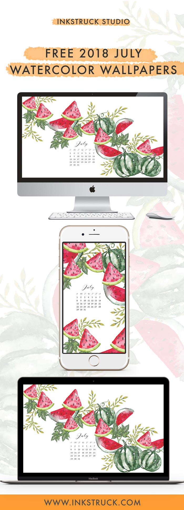 Grab my free 2018 July watercolor wallpapers on the blog now with both dated and undated versions for phones and desktops. - Inkstruck Studio