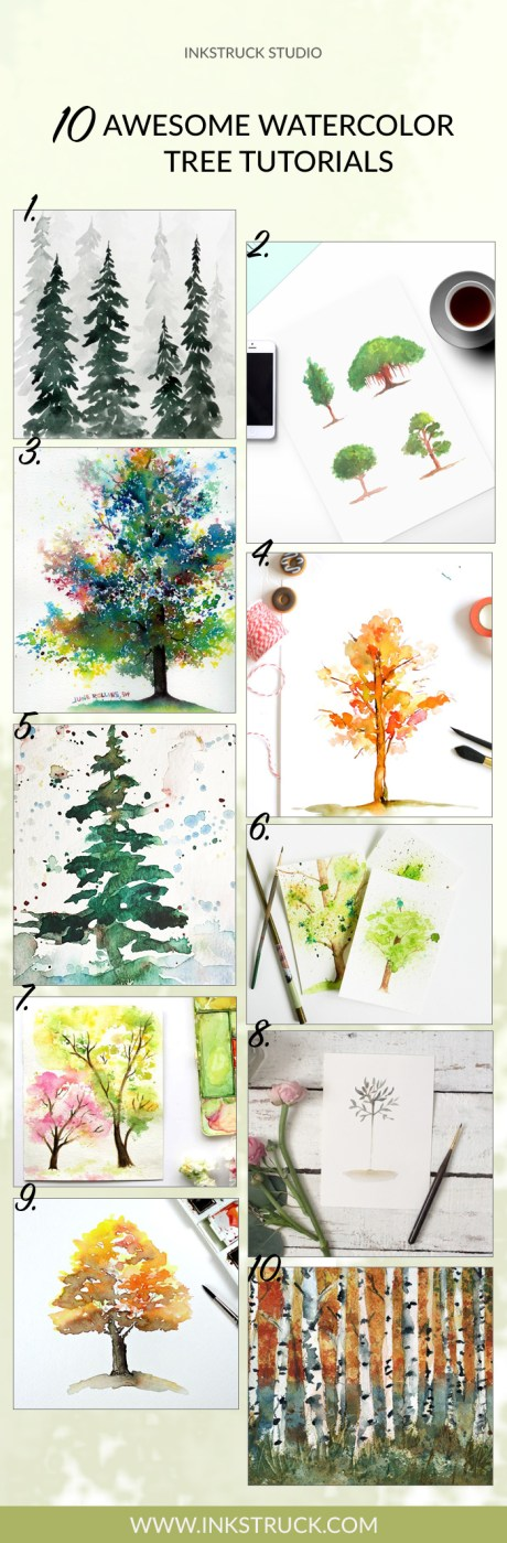 10 Awesome Watercolor Tree Tutorials - Inkstruck Studio