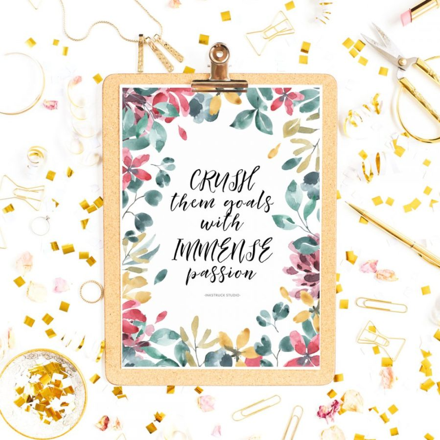 Make this year awesome by downloading my free watercolor inspirational quote printable on the blog - Inkstruck Studio