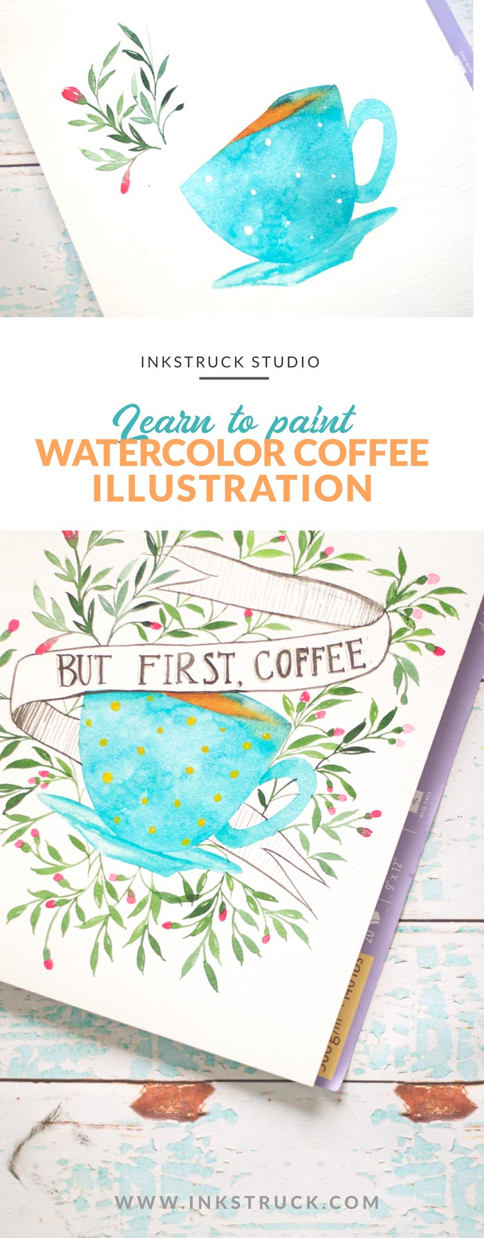 Create an wesome watercolor coffee illustration by following this easy to do tutorial - Inkstruck Studio