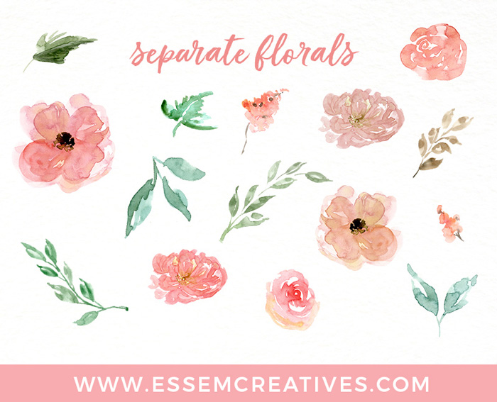 Watercolor flower clip-art