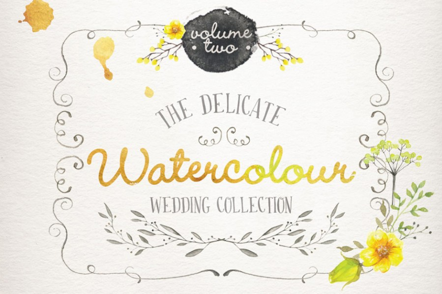 Watercolor clipart wedding collection