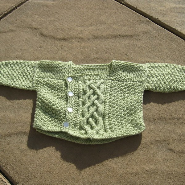 Baby Yours sweater designed by Stephanie Pearl McPhee. Green baby acrylic.