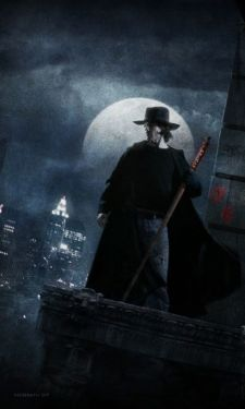 Book cover of Dresden Files Fool Moon by Christian McGrath. A man in a black duster and hat, carrying a staff, stands against the backdrop of a city and an incredibly large full moon.