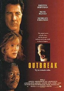 Movie poster: Outbreak (1995) featuring Dustin Hoffman, Rene Russo, Morgan Freeman. Portraits of the three headliners are juxtaposed down the left side of the poster with the movie's title and a picture of a screeching monkey on the centre-right.