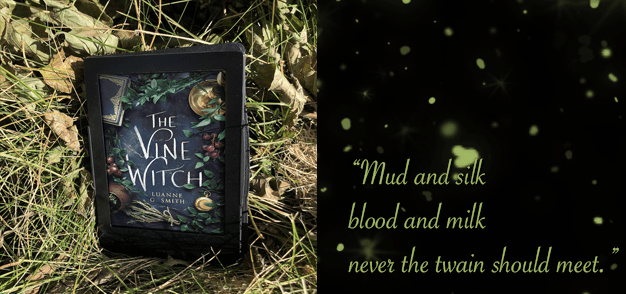 An e-book displaying the cover of The Vine Witch rests in a nest of autumn grasses and shrubbery.