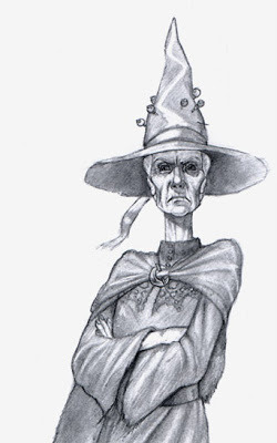 Granny Weatherwax from Terry Pratchett's Discworld. Art possibly by Paul Kidby?