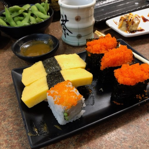 Tamagotchi's, Masago, California Rolls and Edamame all make for a happy sushi belly!