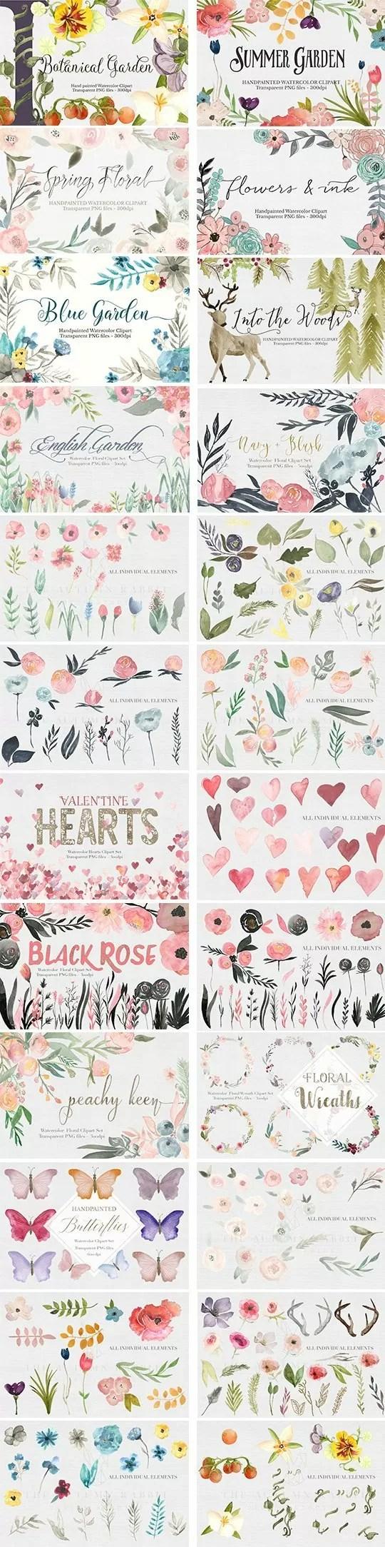 watercolor-flowers-antlers-clip-art-bundle