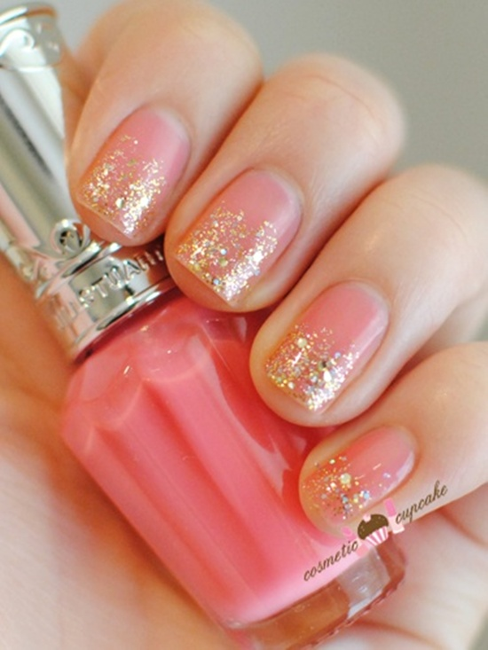 Golden Gliter Nail Art 19