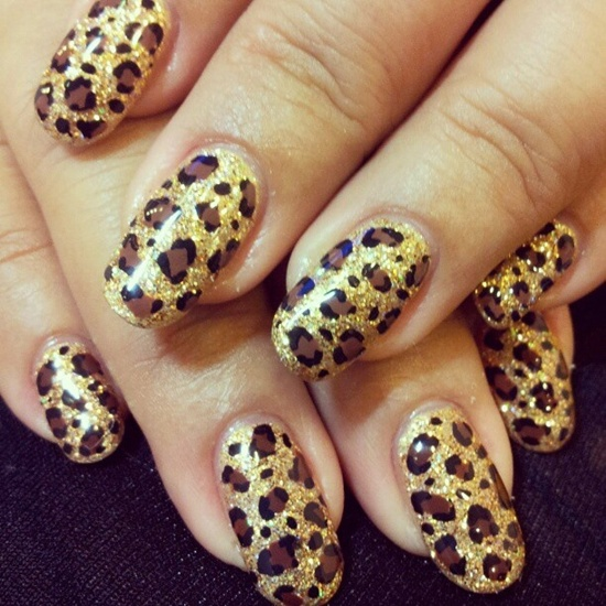 Leopard Print Adds Instant Appeal To Anything Upon Which It Is Painted But The Gold Glitter Base Of This Particular Design Makes Just As Glamorous