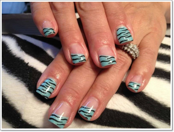 Natural Zebra Print Nails Design With Light Blue